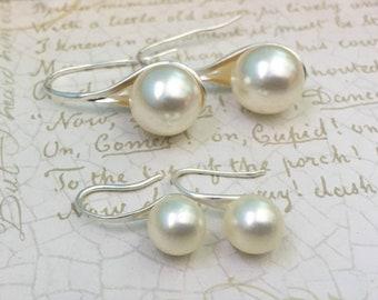 Swarvoski Cream Pearl Earrings - Silver Bridal Earrings, Bridesmaid Jewelry, Pearl Bridal Earrings, Bridesmaid Pearl Earring, Bridal Jewelry
