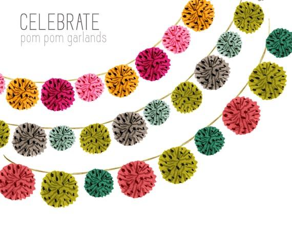 birthday clipart, garland clipart, border clipart, bunting clipart