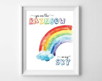 Rainbow Kids Room, Nursery Print, Rainbow Print, Sky Nursery Print, Rainbow Playroom Print, Rainbow Wall Art, You Are The Rainbow Printable