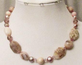 Pink Peruvian Opal Jewelry, Pink Opal, Lavender Fresh Water Pearls, Handmade Opal Birthstone Necklace, Healing Gemstones, Pink Gem Necklace