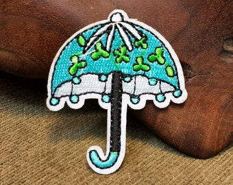 Blue Umbrella with Green Flowers Patch