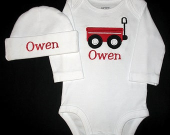 Custom Personalized Applique WAGON and NAME Bodysuit and Hat Set - Red and Black