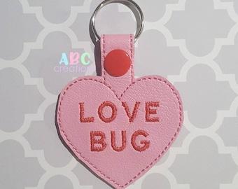 Love Bug Heart Key Chain, Valentine Key Chain, Custom Name, Key Chain, Key Fob, Snap Tab, ITH, Digital File, Embroidery Design