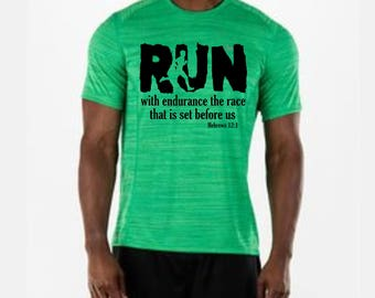 Run with Endurance - Iron On - Printable File -  The Race that is Set Before Us- Hebrews 12 1  Black