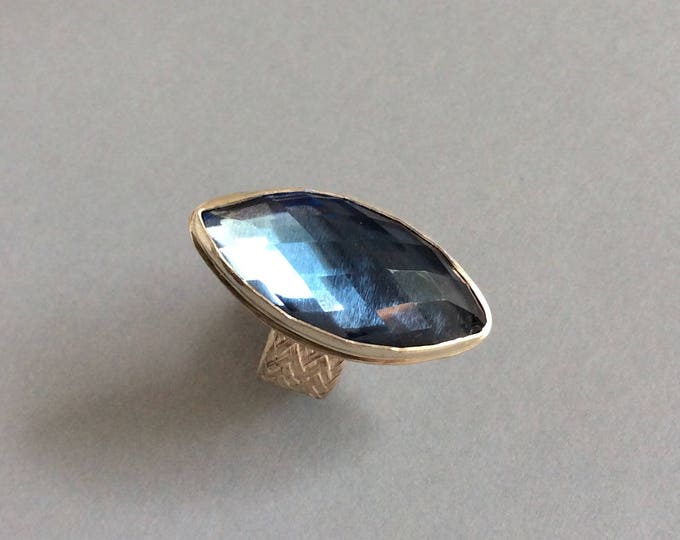 Rose Cut Blue Topaz marquise Sterling silver Ring