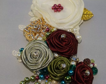 Rolled ribbon rose corsage