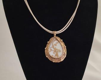Broken China Jewelry / Gold China Necklace / Broken China Necklace