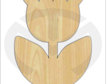 Unfinished Wood Tulip Laser Cutout, Wreath Accent, Door Hanger, Ready to Paint & Personalize, Various Sizes
