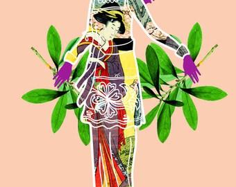 Girl in Utamaro Dress Art Print, Japanese Print Illustration, Graphic Fashion Illustration, Contemporary Ukiyo e Art, 5x7, 8x10, 11x14