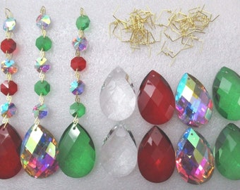 """DIY Crystal Windchimes Parts Add-on  Kit - MAKES 8  Prism Sets - Red Green and AB  2"""" Teardrop and Octagon Chandelier Craft Supply"""
