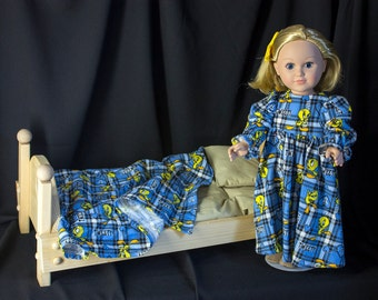 "Pajamas, Blanket & Slippers for American Girl Doll or Any Other 18"" Doll. Sleepwear, Nightgown, Doll Bedding, Tweety Bird, Blue n Yellow."
