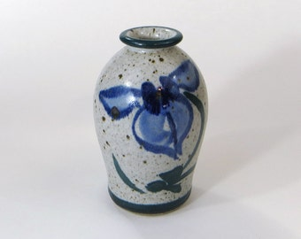 Small stoneware vase with blue flowers - handpainted stoneware vase - speckled stoneware vase - blue hand painted floral vase - bud vase