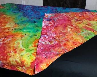 """Twin Size Tie Dye Flat Sheet - 66"""" x 96"""" Tie Dye Tapestry - Rainbow Splatter Ice Dyed Flat Sheet - Twin Size Flat Sheet - Trippy Ice Dye"""