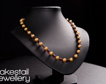 Gold Pearl & Garnet Necklace