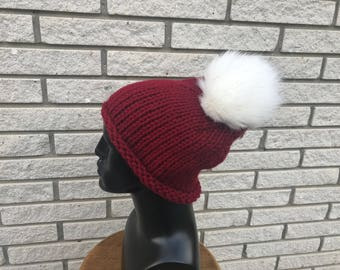 Knit Beanie | Slouchy Hat | Winter Hat | Winter Accessory | Gift for her | Two pom poms detachable