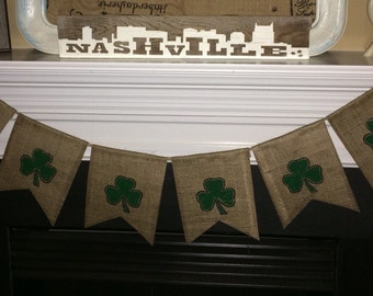St. Patty's Burlap Banner, Luck Banner, Shamrock Sign, St. Patrick's Day Banner, Shamrock Burlap Banner, St. Patrick's Day Burlap Banner