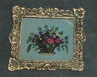 Miniature FLOWER PAINTING By (David Whitlock) On Heavy Metal Frame