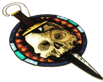Hand Painted Stained Glass Skull & Dagger
