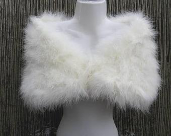 Piume di Marabou bianco avorio / sposa scrollata di spalle / rubato / scrollata di spalle - due misure