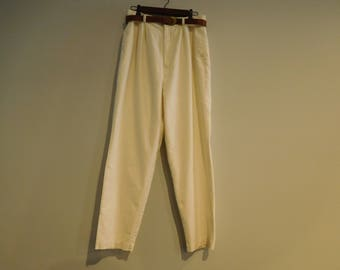 Vintage Cream Lined Linen Pants by Hunt Club Size 14