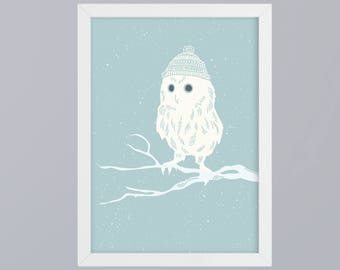 Winter-OWL art print without frame