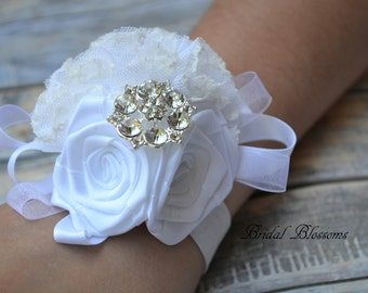 White Satin Lace Ribbon Flower Wrist Corsage | Vintage Inspired Wedding | Mother of the Bride | Classic Bridal Party Baby Shower Prom