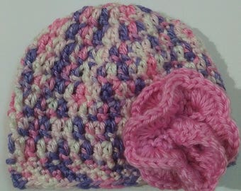 Sweet Dreams Handmade Crochet Baby Hat with Flower Baby Child Teen Adult