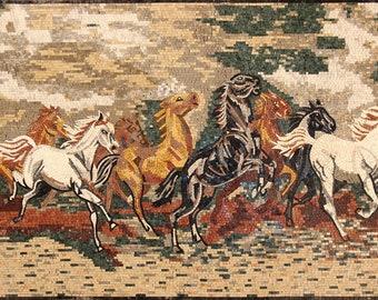 """56""""X36"""" Horses Running Tile Art Marble Mosaic AN1073"""