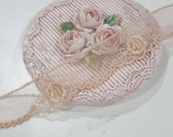 1 Yard- Slim Scallop Embroidered Lace Trim/NT142- Vintage Lace/ Scallop Edge Lace/
