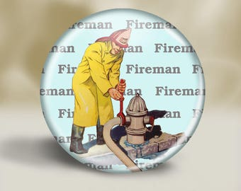 Vintage Firefighter Magnet or Pin, 2.25 Inch, Gift for Dad