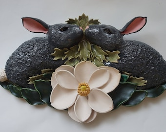 One of a kind Ceramic Wall Sculpture of Rabbits and Magnolia Flower