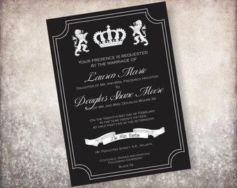 Crown and Lion Royal Wedding Invitation
