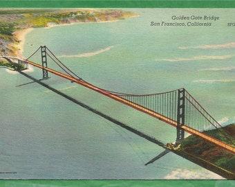 Vintage Linen Postcard - Golden Gate Bridge Over San Francisco Bay in California (2950)