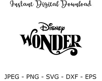 Disney Wonder Cruise SVG DXF Png Jpeg Eps Vector Cut File Cricut Design Silhouette Vinyl Decal Disney Party Stencil Template Transfer Iron