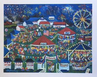 "Limited Edition Folk Art Giclee  ""The Volunteers""  - based on Painting by N Taylor Collins of the Onancock Carnival on the Eastern Shore"