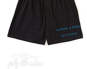 Personalised mens/groom wedding boxers/boxer shorts - (your names and/or date)