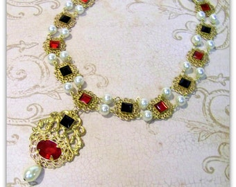Medieval Necklace - Medieval Jewelry - Renaissance Jewelry, Historical Replica, Catherine Parr Necklace, Tudor Replica, Renaissance Necklace