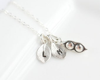 Best Friend Gift - Silver Pea Pod Necklace - Sterling Silver Best Friends Necklace for 2  Two Peas in a Pod Necklace Silver Sisters Necklace