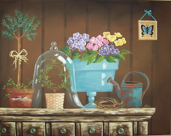 Folk Art Print~Primrose Vignette~Vintage Garden Still Life