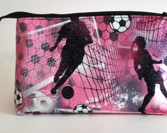 GIRLS SOCCER ANYONE 100% cotton fabric Cosmetic Bag, gift bag with full width opening and nylon zipper closure