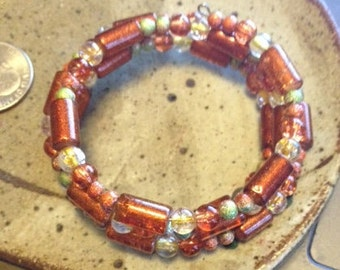 Orange and green wrap around bracelet, one of a kind