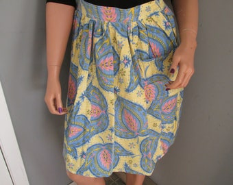 A15 Vintage Handmade Hostess Half Apron Yellow Pink Blue Floral Paisley