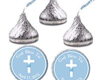 Printable Candy Sticker Label, Personalized Baptism Christening Communion Hershey Kiss Labels, Custom Blue Candy Sticker Favor Tags (0118)