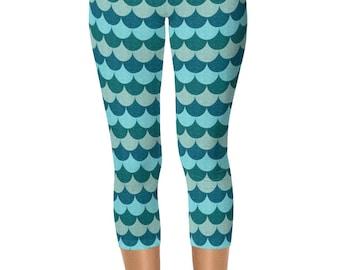 Leggings Blue Mermaid, Capri Mermaid Scale Yoga Pants, Womens Capris Leggings
