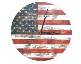 Americana Wall Clock Silent, 10 or 12 Inch American Flag Clock, Unique Rustic Americana Home Decor, Patriotic Red White Blue Decor 2453