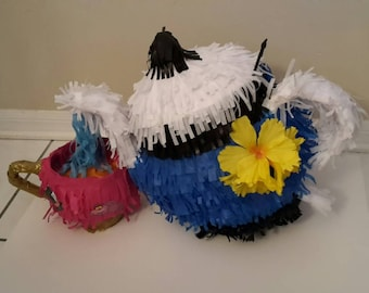 Teapot and Teacup piñata. Handmade. Alice in wonderland. New