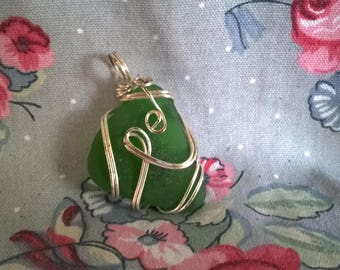 Genuine Vintage Green Wire Wrapped  Seaglass Pendant