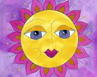One Sunny Disposition and Sunny Disposition Too - Prints from Original Pen and Ink, Gouache Paintings by Suzanne MacCrone Rogers