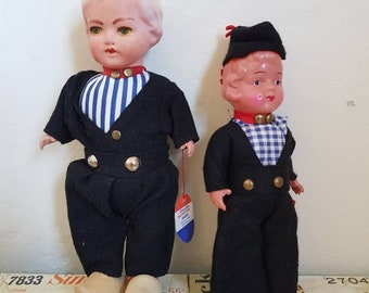 Vintage  1950s Rosetta Made in Nederlands dutch boy doll pair handmade national dress clothing clogs souvenir kitsch instant collection