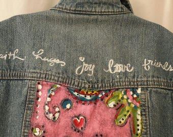 EVERYTHING MUST GO! Small Petite, Hand painted jean vest, Faith, Hugs, Joy, Love, Friends